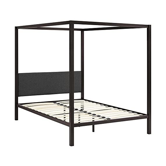 """Modway Raina Metal Queen Canopy Bed Frame With Upholstered Gray Fabric Headboard in Brown Gray - Rustic Cottage Canopy Platform Bed; Non-Marking Foot Caps; Maximum weight capacity 1323 lbs.; Box_2_Height 86; Box_2_Width 14; Box_2_Length 6; Box_2_Weight 73; Box_1_Height 61; Box_1_Width 29; Box_1_Length 3; Box_1_Weight 28; Total Shipping Weight 101; Product Weight 93; Assembly Required Y; Product Dimensions Overall Product Dimensions: 85.5""""L x 61""""W x 72""""H, Headboard Dimensions: 57""""W x 18""""H, Floor to Top of Bed frame: 12.5""""H, Bed Inner Size: 81""""L x 60""""W Slatted Poplar Wood Support System Powder Coated Sturdy Steel Frame - bedroom-furniture, bedroom, bed-frames - 41ixVQ2UuwL. SS570  -"""