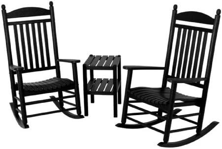 POLYWOOD PWS140-1-BL Jefferson 3-Piece Rocker Chair Set, Black