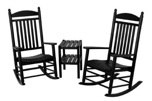 POLYWOOD PWS140-1-BL Jefferson 3-Piece Rocker Chair Set, Black