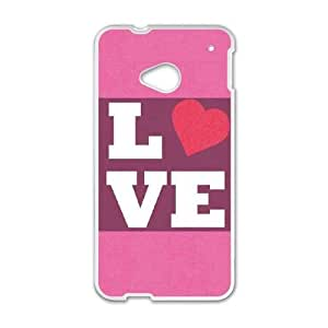 HTC One M7 Cell Phone Case White Purple Love GY9163584