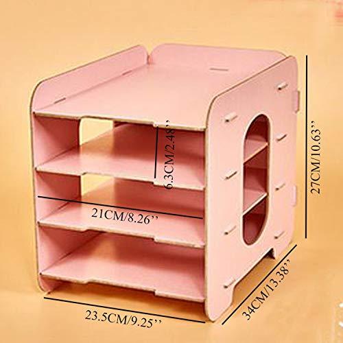 Collocation-Online Office Desktop File Holder Storage Box Wooden Multilayer Shelf Mobile Household Desktop Box,Black by Collocation-Online (Image #2)