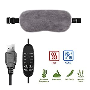 Maxiee USB Steam Eye Mask, Heated Eye Warming Sleep Mask with Time and Temperature Control to Relieve Puffy Eyes, Dark Cycles, Dry Eyes and Tired Eyes (Gray)