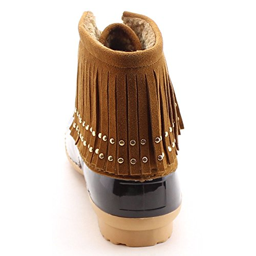 Studded Duck 03 Breeze Lovely Lace Tan Duck Boots Fringe Nature Women's Up Dress Xq15xO