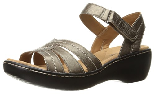 Women's Sandal Clarks Leather Varro Delana Dress Pewter gqx8wd6x