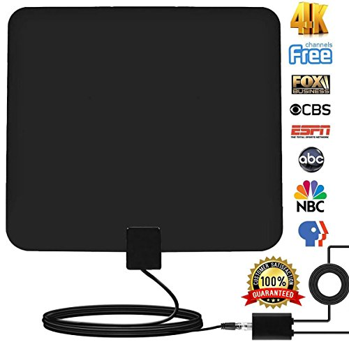 grell 60-100Miles Indoor HDTV Antenna - Upgraded Digital TV Antenna with Amplifier TV Antenna Indoor High Reception for Free Channels Gain 4K 1080P with 12ft Coax Cable ...
