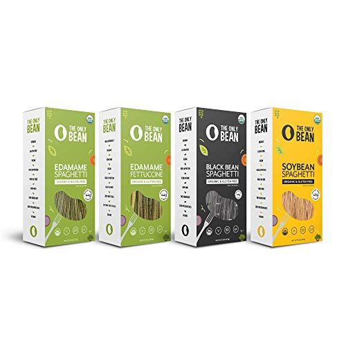 - The Only Bean - Organic Edamame, Soy, Black Bean Spaghetti and Fettuccine Pasta, Gluten Free Noodles, 8oz (Variety Pack) (4 Pack)