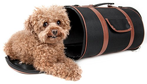- PET LIFE 'Bark Avenue' Cylindrical Airline Approved Fashion Designer Posh Pet Dog Carrier, Medium, Black and Brown