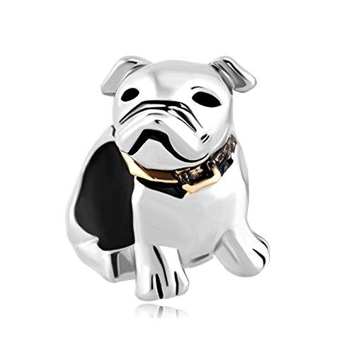 Bulldog Bracelets (ReisJewelry German Shepherd Bulldog Labrador Puppy Dog Charm Animal European Bead For Bracelet (Bulldog))