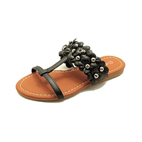 Schwarze Blume Armband flache Sandalen Mädchen Schwarz