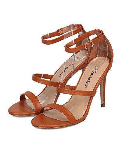 Sandalo Stiletto Breckelles Da Donna In Pelle - Tacco A Tripla Fascia - Sandalo Stiletto Minimalista - Gh49 By Tan
