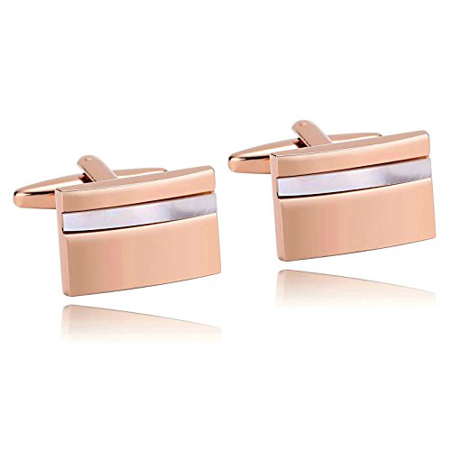 Rose White Cufflinks (Mens Cufflinks Stainless Steel White Rose Gold Laser Cut Camber Rectangle 1.9X1.3CM Dad Jewelry Box Elegant Fancy Unique Aooaz)