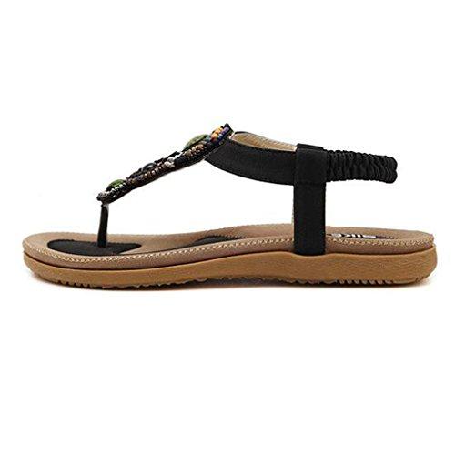 Women's Binying Toe Bohemian Style Beaded Black Sandals Open Flat 4PPZzncx7