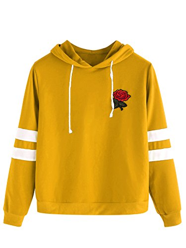 DIDK Women's Embroidered Rose Patch Stripe Sleeve Hoodie Sweatshirt Yellow L