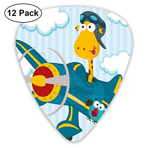 (Guitar Picks 12-Pack,Goofy Giraffe On A Blue Plane With Two Birds Animal Aviation Goggles)