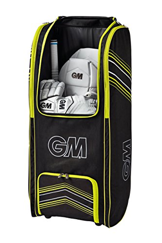 Gunn & Moore Original GM Original Wheelie Duffle Cricket Bag, Black - Yellow (Team Bag Wheelie)