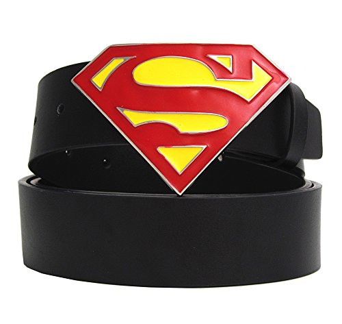 [Change] Western Men Women Leather Belts Black Strap Superman Buckle Cowboy Men Belt Waist size 33