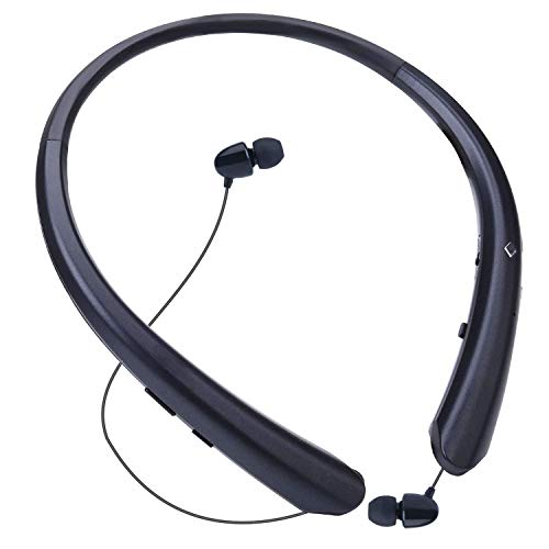 LINYY Bluetooth Headphones Wireless Neckband Headset Retractable Earbuds Sports Sweat-Proof Noise Cancelling Stereo Earphones with Mic for Bluetooth Enabled Devices (Black) (Best Sweat Proof Headphones)