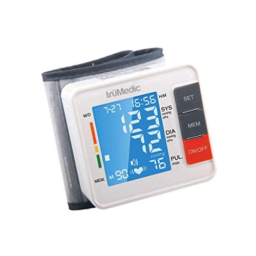 TruMedic Voice Enabled Wrist Blood Pressure Monitor – Cordless Smart Digital Screen Display Gives Automatic Hypertension and Heart Rate Pulse Results – Home Use Health Tracker Care Device (BP-1000)