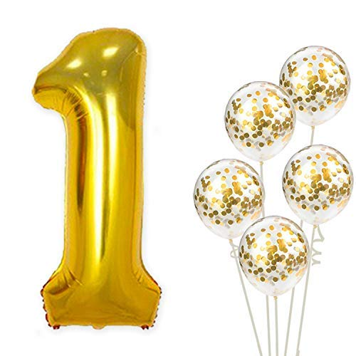 Large, Number 1 and Gold Confetti Balloon - 1st Birthday Party Decorations | First Party Supplies for Engagement, Anniversary, Winner, Baby Shower Wedding - 32 Foot Balloons - 1st Party Balloon Birthday