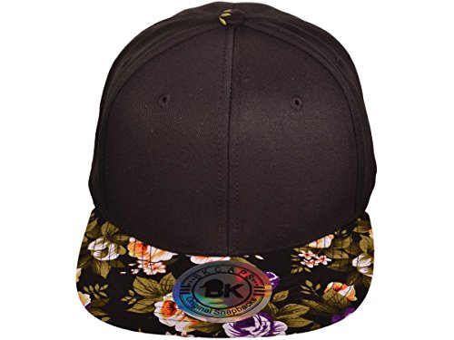 BK Caps Cotton Flat Bill Floral Snapback Hats (Front is Black and Brim is Flower Black) - 3528