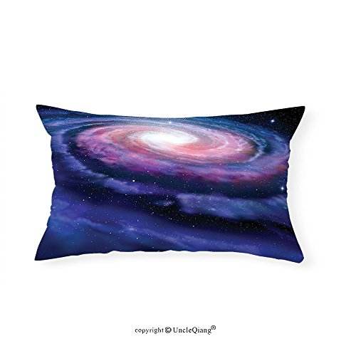 VROSELV Custom pillowcasesGalaxy Nebula in Outer Space Spiral Stardust Cloud of Dust Planetarium Astronomy Cool Art Print for Fathers Day Bedroom Living Room Dorm Mauve Blue(14''x24'') by VROSELV