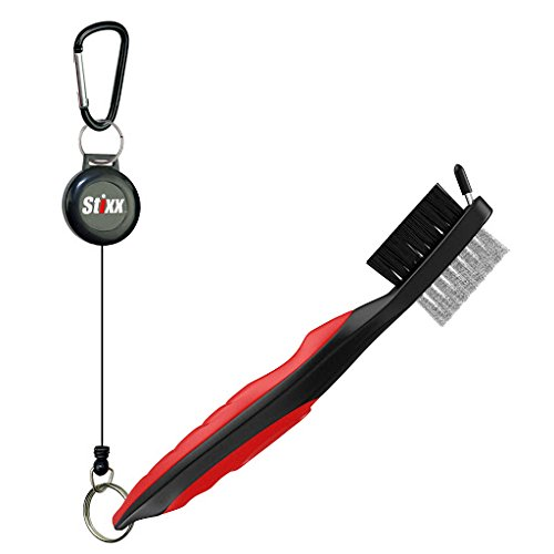 STIXX Golf Brush and Groove Cleaner with Retractable Clip, Extends 2 Ft.  Brass, Nylon and Spike Cleaning Tool
