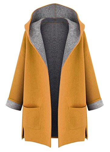 WAYA Women Plus Size Color Block Hoodie Cardigan Pea Coat Outwear Yellow 3XL (Size Tweed Plus Coat)