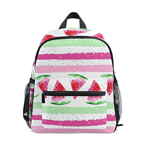 (AUUXVA Kids Backpack Stripe Rainbow Watermelon Toddler Shoulder Travel Elementary School Bags Preschool Kindergarten for Girls Boys Children)