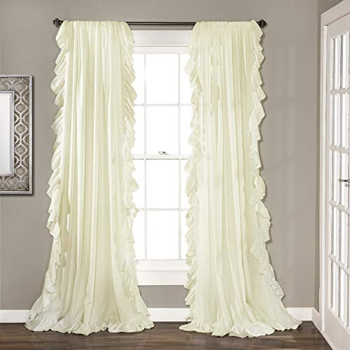 Lush Decor Reyna Ivory Window Panel Curtain Set for Living, Dining Room, Bedroom (Pair), 84