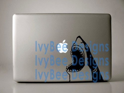 Shark Jumping Out of the Water - Black Vinyl Decal for Macbook