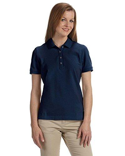 Ashworth Ladies Combed Cotton Pique Polo - NAVY - - Combed Cotton Shirt Golf Pique