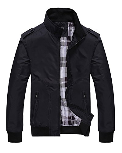 Lunga Manica Uomo Jacket Retro Vintage Outwear Casual Classico Da Giacche Nero Giacca wSAxqHa0x