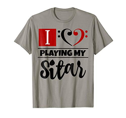 Double Black Red Bass Clef Heart I Love Playing My Sitar T-Shirt