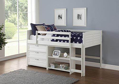 - Donco Kids 795-TW-C Louver Modular Low Loft Bed Combo C, Twin, White