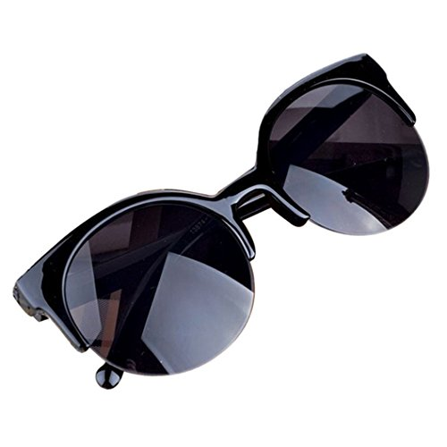 DEESEE(TM) Fashion Vintage Sunglasses Retro Cat Eye Semi-Rim Round Sunglasses for Men Women Sun Glasses (As the picture, - Sunglasses Rim Semi