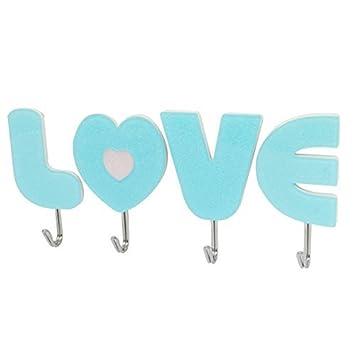 eDealMax Amor plástico en forma de pared titular de la ropa de la toalla Hanger ganchos