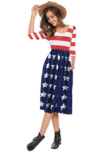 Halife Women's Red White Blue American Flag Patriotic Floral Dress Bold Stripe,M]()