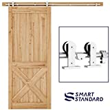 SMARTSTANDARD 6.6FT Top Mount Heavy Duty Sliding Barn Door Hardware Kit, Single Rail, Stainless Steel, Smoothly and Quietly, Simple and Easy to Install, Fit 36'-40' Wide DoorPanel (T Shape Hanger)