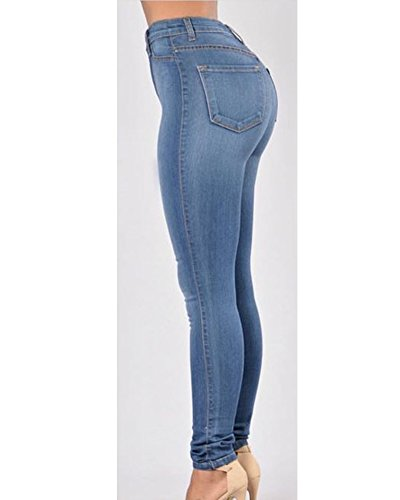 Pantaloni Blu Elasticizzati Jeans Donna Elasticità Zaffiro Denim Dritti Lungo WcOCcSqnU