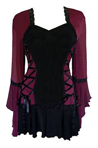 Dare to Wear Victorian Gothic Boho Women's Plus Size Bolero Corset Top Burgundy 4x