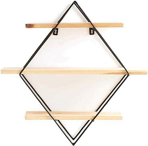 BZM-ZM (:ブラックカラー)ダイヤモンド現代のホームデコレーションブラケットアイアンウォールシェルフオーガナイザーベッドルームリビングルームオフィスフローティング棚をマウント
