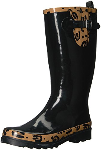 The SAK Women's Rhythm Rain Boot, Black With Natural Leopard, 8 Medium (Leopard Rain Boots)