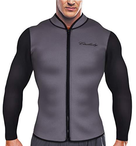 CtriLady Men's Best Neoprene Wetsuit Jacket Front Zipper Long Sleeves Workout Tank Top for Swimming Snorkeling Surfing (Grey, XL)