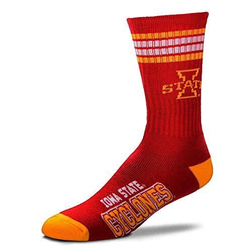 For Bare Feet NCAA 4 Stripe Deuce Crew Men Socks (Iowa State Cyclones, Medium (5-10))