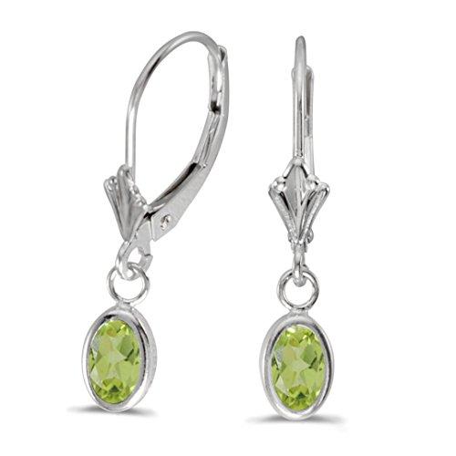 FB Jewels Solid 14k White Gold Dangle Genuine Green Birthstone Oval Peridot Bezel Lever-back Earrings (4/5 Cttw.)