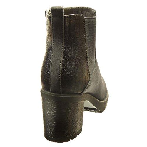 Angkorly - Chaussures Fashion Bottines - Bottines Chelsea Boots Haute Talons Femmes Léopard Snakeskin Block Talon 6.5 Cm High - Grey