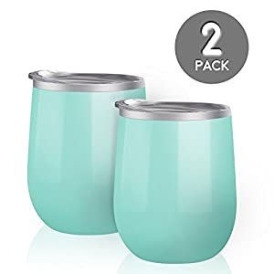 Maars Bev Steel Stemless Wine Glass Tumbler, 12 oz | Double Wall Vacuum Insulated | 2 Pack - Mint
