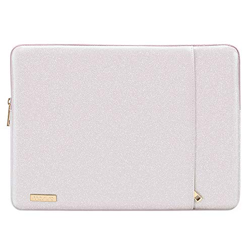 MOSISO Laptop Sleeve Compatible with 13-13.3 Inch MacBook Air/MacBook Pro Retina/2016-2019 MacBook Pro USB-C/Surface Book, PU Leather Vertical Style Super Padded Bag Waterproof Case,Shining Light Pink