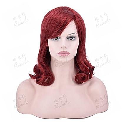 WIAGHUAS Pelucas pelucas cortas resistentes al calor pelucas pelirrojas Peluca roja peluca resistente al calor peluca