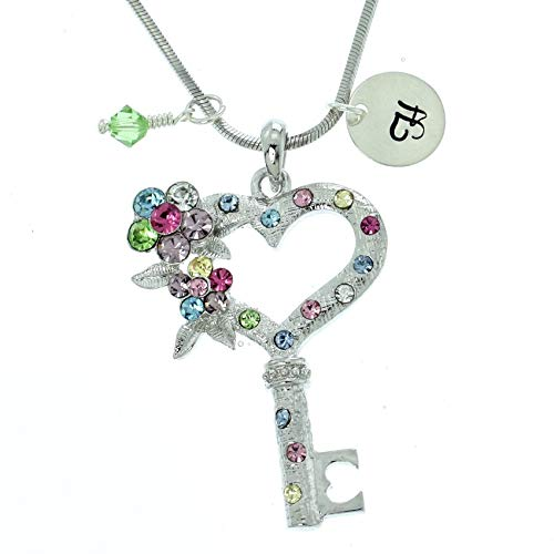 - Personalized Key Heart Flower Multi Color Pendant Sparkling Crystals Custom Necklace Hand Stamped Initial Letter and Birthstone Charms Chain Gift Jewelry